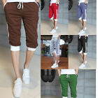 Mens Summer Casual Seven pants Jogger Baggy Striped Slacks Short Trousers New