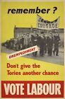 1930's Labour Party Remember Jarrow Crusade Election Poster A3 Print