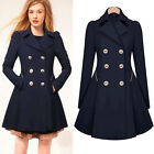 Women Ladies Trench Slim Coat Long MAC Jacket Outwear Parka Overcoat Double Pea