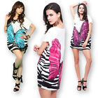 Women Casual Loose Butterfly Pattern Short Sleeve T Shirt Mini Dress Blouse Tops
