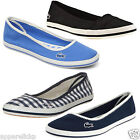 Lacoste Marthe Women's Summer Black Blue Canvas Flat Pumps Slip On All Sizes