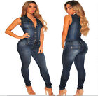 Casual Fashion Women Sleeveless Body Con Cotton Denim Club Long Jumpsuit Rompers