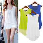 Fashion Womens Summer Sleeveless Loose Casual Chiffon Vest Shirt Tops Blouse Top