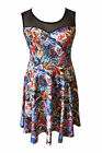 Plus Size 16-26 Comic Cartoon Skater Dress Multi Coloured Stretch Sexy Pin-up