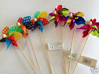Garden Windmill x 6 Wooden Sticks - Metallic & Spotty - 26cm Windmills