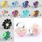 Pink/Black/Green/Blue Polymer Clay Crystal Beads Stainless Steel Adjustable Ring