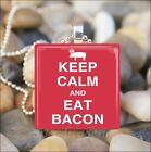 """KEEP CALM AND EAT BACON"" MEAT BACON LOVER GLASS TILE PENDANT NECKLACE KEYRING"