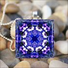 """FLOWER MANDALA"" BLUE PURPLE FLORAL KALEIDOSCOPE GLASS PENDANT NECKLACE KEYRING"