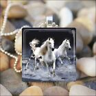 """WILD WHITE HORSES"" WHITE HORSE LOVER GLASS CHARM PENDANT NECKLACE KEYRING"