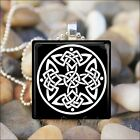 """IRISH CELTIC KNOT"" IRELAND HERITAGE PRIDE GLASS TILE PENDANT NECKLACE KEYRING"