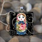 BABUSHKA DOLL MATRYOSHKA RUSSIAN STACKING DOLLS GLASS PENDANT NECKLACE design 2