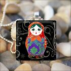 BABUSHKA DOLL MATRYOSHKA RUSSIAN STACKING DOLLS GLASS PENDANT NECKLACE design 5