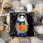 BABUSHKA DOLL MATRYOSHKA RUSSIAN STACKING DOLLS GLASS PENDANT NECKLACE design 7