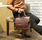 Men's Leather Shoulder BAGS Brown laptop business bags Handbag 14inch briefcase