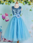 Girl Princess Bridesmaids Princess Sequins Voile Flower Dress Age 7-12 Year BLUE