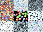 100 pcs mixed number or letter acrylic beads, flat round, 7 mm*