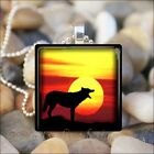 """SUNSET WOLF"" COYOTE WOLF DOG GLASS PENDANT CHARM NECKLACE KEYRING"