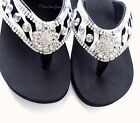 NIB WOMENS WESTERN STYLE ZEBRA RHINESTONE BLING WEDGE FLIP FLOP SANDALS BLACK