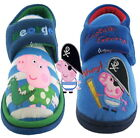 Boys Peppa Pig George Velcro Slippers Shoe Sizes 5-10 New Gift