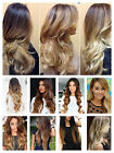 Amazing Two Colors Dip dye Ombre Clip in Hair Extensions Real Synthetic