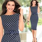 Women Belt Polka Dot Blue Bodycon Pencil Slim Dress Wear to Work Cocktail Party