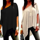 Sexy Ladies Summer Loose Casual Strapless Gown Cotton Tee Shirt  Blouse Tops