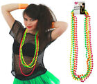 BLACK 80S MESH TOP AND 4 PACK OF NEON BEADS FISHNET T-SHIRT FANCY DRESS COSTUME