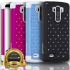 Bling Sparkle Diamond Hybrid Dual Layer TPU + PC Case Cover Skin For LG G Stylo