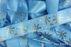 Reel Chic Ribbon Collection Blue Snowflakes on Blue Satin 22mm Wide RC025