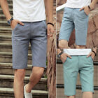 Mens Cotton & Linen Slacks Short Trousers Slim Fit  Half Pant Beach Shorts 27-36