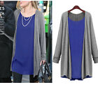 2015 lady long Sleeve knit cotton false 2 PCS tops shirt dress plus size HOT