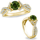1 Ct Green Diamond Classy Solitaire Halo Wedding Promise Ring 14K Yellow Gold
