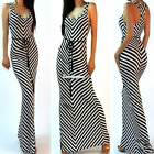 Sexy Women Black White Stripes Sleeveless Racer Maxi Long V Neck Dress ES9P
