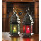 Set of 2 One Red and One Green Moroccan Style Candle Lanterns