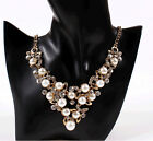 LUXURY upmarket Lady Bride bright glisten pearl Crystal charm clavicle necklace
