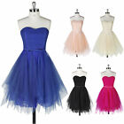 SEMI Formal Short Lace Tulle Wedding Party Evening Gown PROM Bridesmaid Dresses