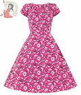 LADY VINTAGE 50's SUMMER retro FLORAL DAY DRESS PINK