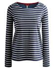 Joules Pia Womens Top Jersey Front And Woven Back - Cotton in Dark Indigo Stripe