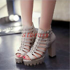 Summer Womens Platform Block Chunky Heel Ankle Strap Roman Gladiators Sandals Sz