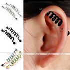 2pc Stainless Steel Industrial Spiral Barbell Ear Cartilage Earring Body Jewelry
