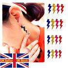 Bright lightning bolt shaped glaze punk exaggerated personality Stud Earring