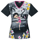 Betty Boop Cherokee Tooniform V Neck Scrub Top in Flamingo Dancer 6777 CB BEOD