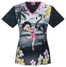 Betty Boop Cherokee Tooniform V Neck Scrub Top in Flamingo Dancer 6777 CB BEOD $28.98 USD