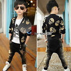2017 Spring Baby Boy Child Kids Skull Head Jackets Coat+Star Trousers Sets 2-7Y