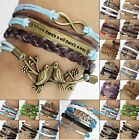 Nautical anchor infinity bracelet antique metal charm bracelet multi-strand hope