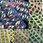 36pc 10x20mm sew on flatback faceted crystal leaf shape rhinestones jewels pk co