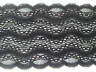 """NEW~Black """"Wave"""" Stretch Scalloped Lace 6""""/15 cm Lingerie/Costume/ribbon/Goth"""