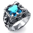 Men's 316L Stainless Steel Titanium Blue Topaz Dragon Claw Casted Ring C072175