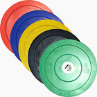 2 x 5kg-25kg Olympic Bumper Plates with Centre Hub Discs Commercial Gym Quality
