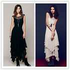 Women Sheer Lace Party Casual   Short Sleeve Slim Long Vintage Lace Dress CALO